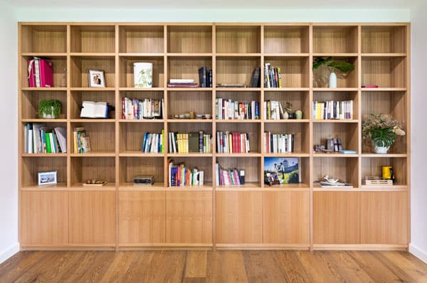 built in timber bookcase