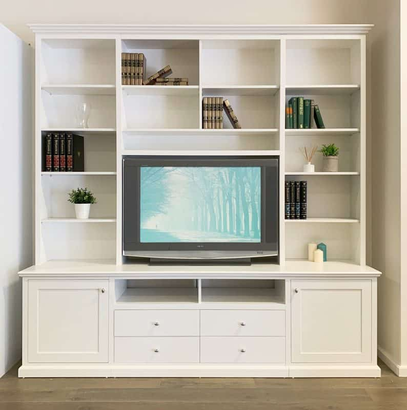 free standing white entertainment unit with credenzas and hutches