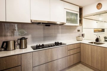 wood grain laminate white kitchen in a rental house