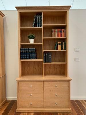 Federal-tasmanian-oak-hardwood-bookcase-with-drawers