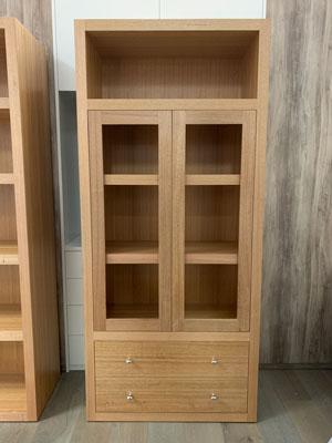 Tasmanian-oak-timber-book-shelf-with-glass-door-and-drawers